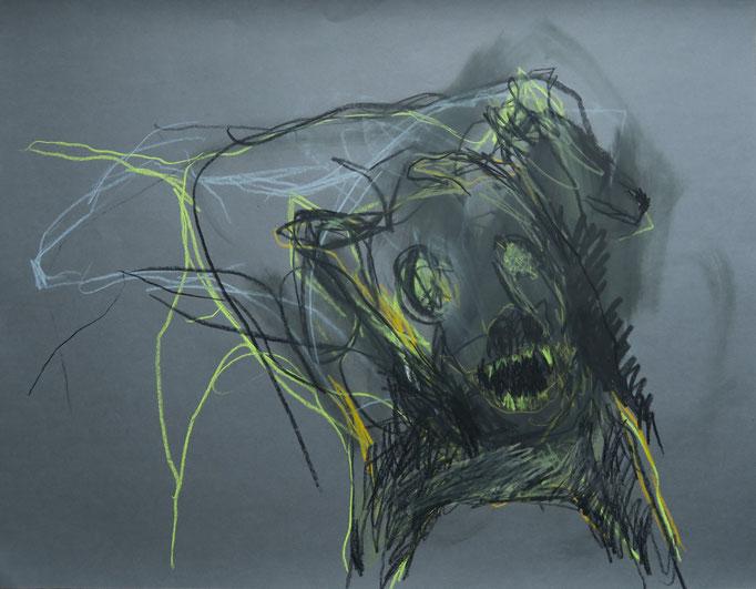 Höllenhund II, 2014, Ölkreide auf Papier, 65 x 50 cm