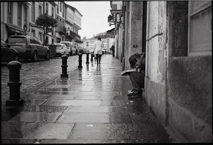 Soledad bajo la lluvia. Santiago de Compostela