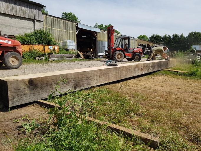 Poutres chêne ressuyé grosses section 45 x 45cm (image)