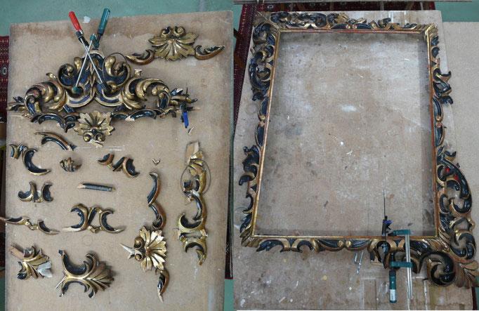Cadre de miroir doré réchampi noir avant restauration