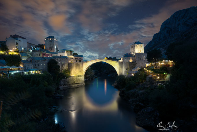 Mostar at night, Bosnia