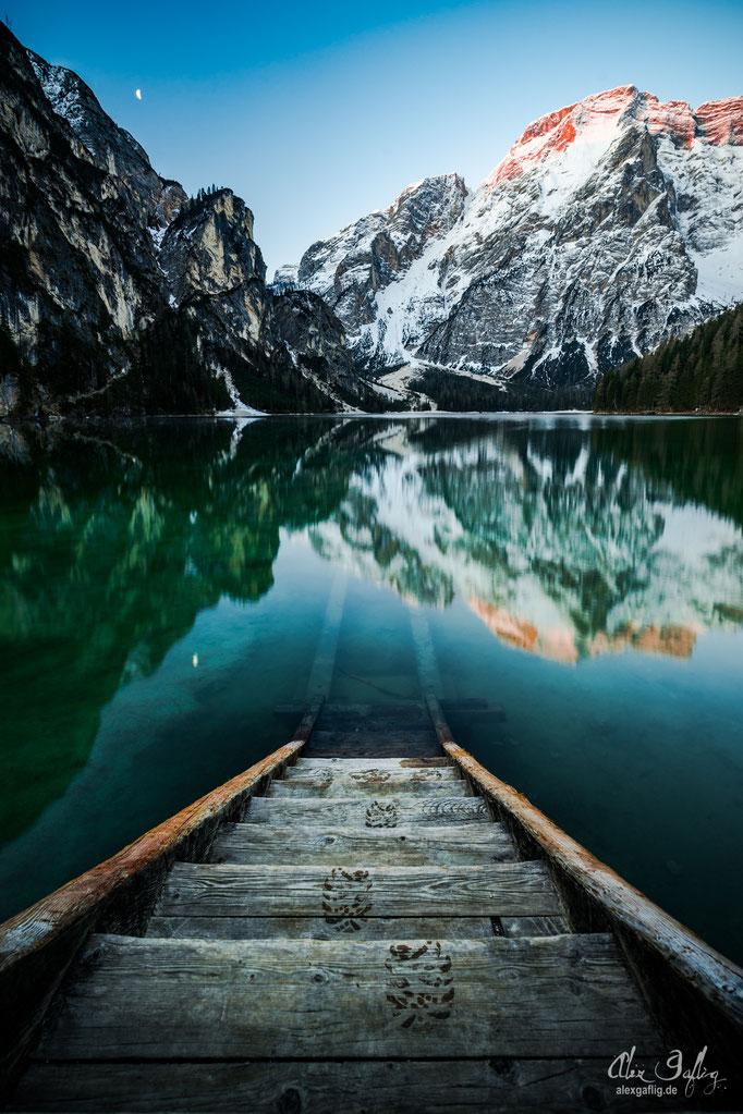 """Leave nothing but footprints"" - Lago di Braies, Italy"