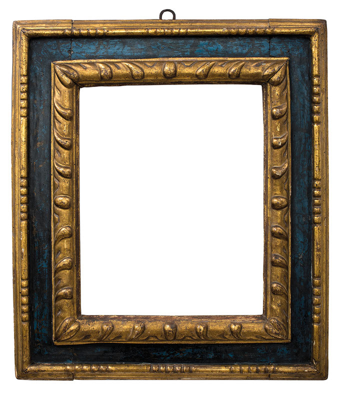 2217  Kassettenrahmen 16./17.Jh., Linde geschnitzt und vergoldet, blau marmorierte  Platte, 37 x 29 x 11,1 cm
