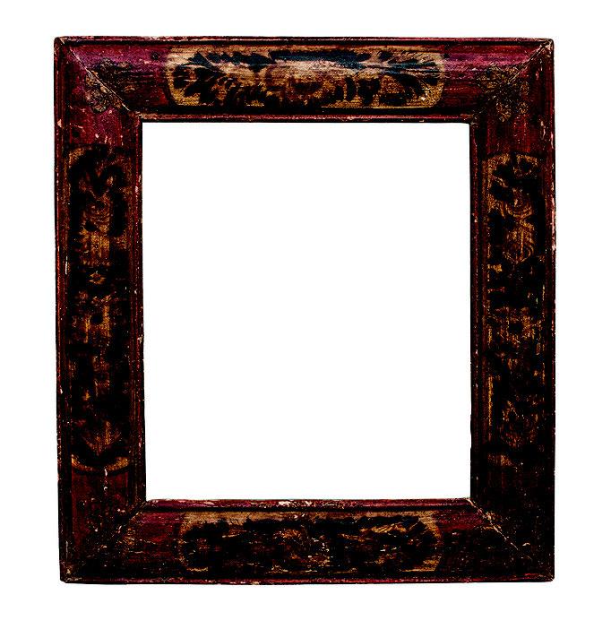 0875  Rahmen 17./18.Jh., Pinienholz polychrom gefasst, 21,6 x 18,3 x 5 cm
