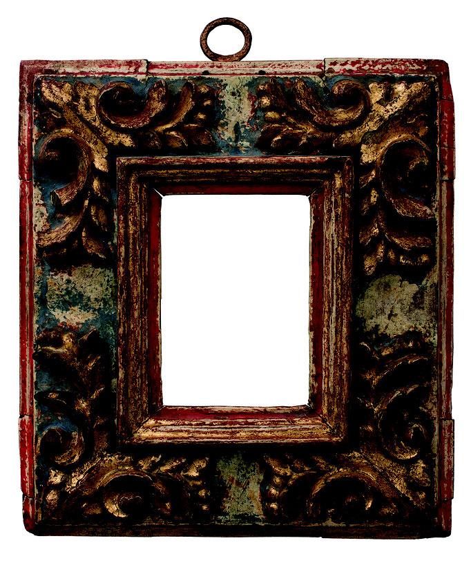2231  Kassettenrahmen 16./17.Jh., Pinienholz geschnitzt und vergoldet, blau und rot gefasst, 12,5 x 8,5 x 8,4 cm