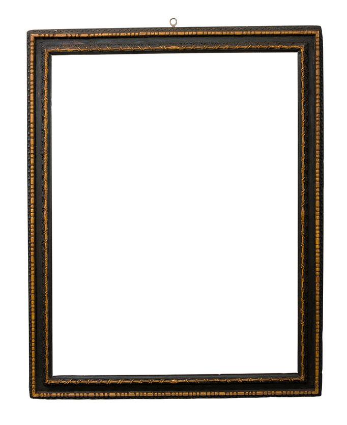 7727  Expressiver Rahmen, 17.Jh., Pinienholz geschnitzt, schwarz und ocker gefasst, 126,5 x 99 x 10 cm