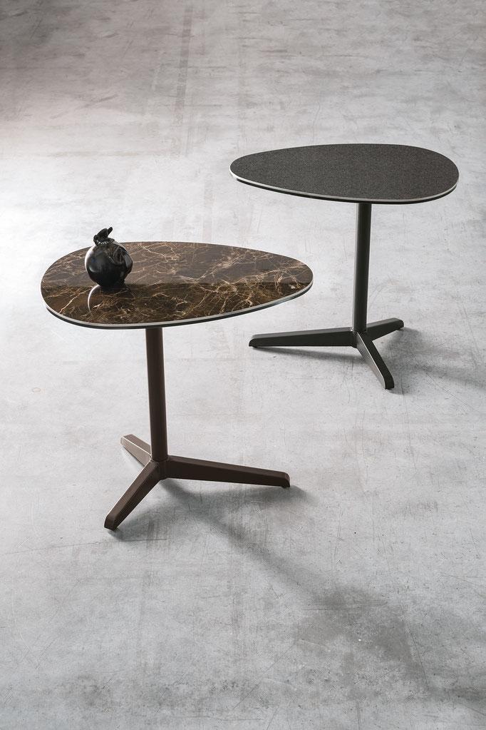 Tavolino da salotto (articolo ECS10) - Struttura in metallo verniciato, piano in gres porcellanato antigraffio