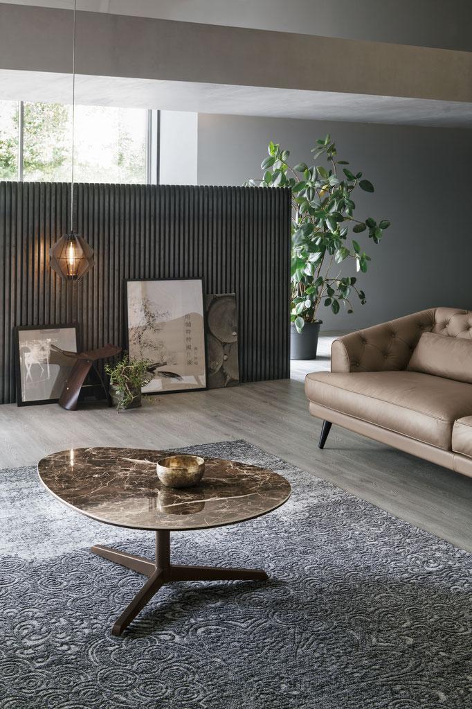 Tavolino da salotto (articolo ECL10) - Struttura in metallo verniciato, piano in gres porcellanato antigraffio