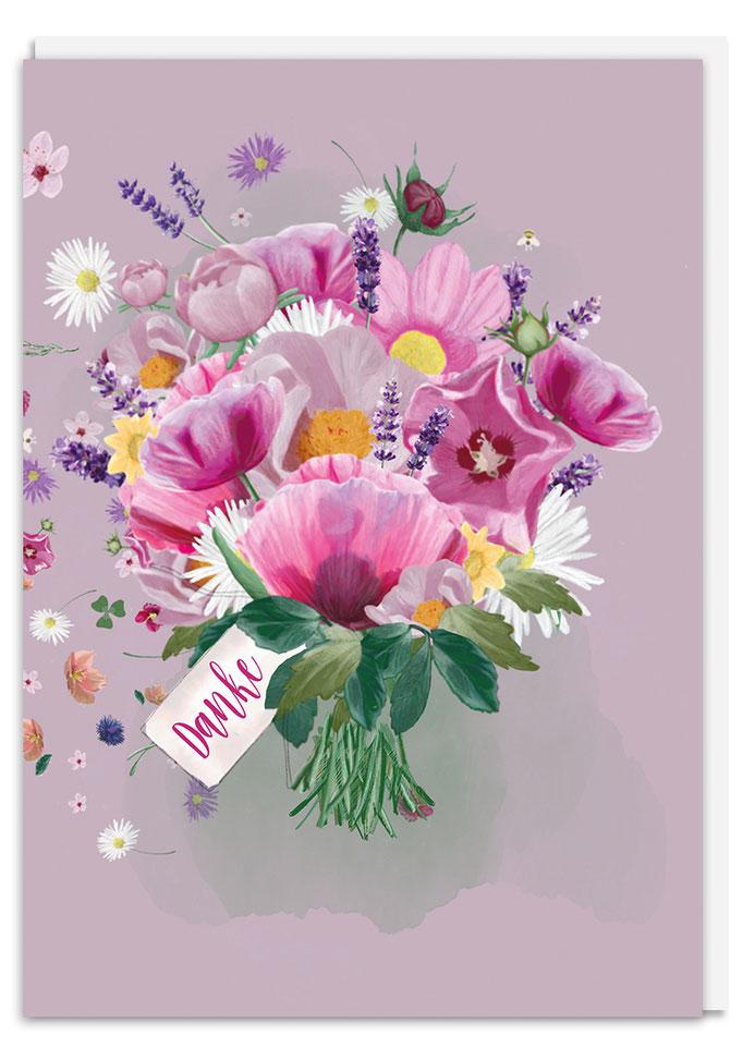 Danke Blumenstrauß Klappkarte