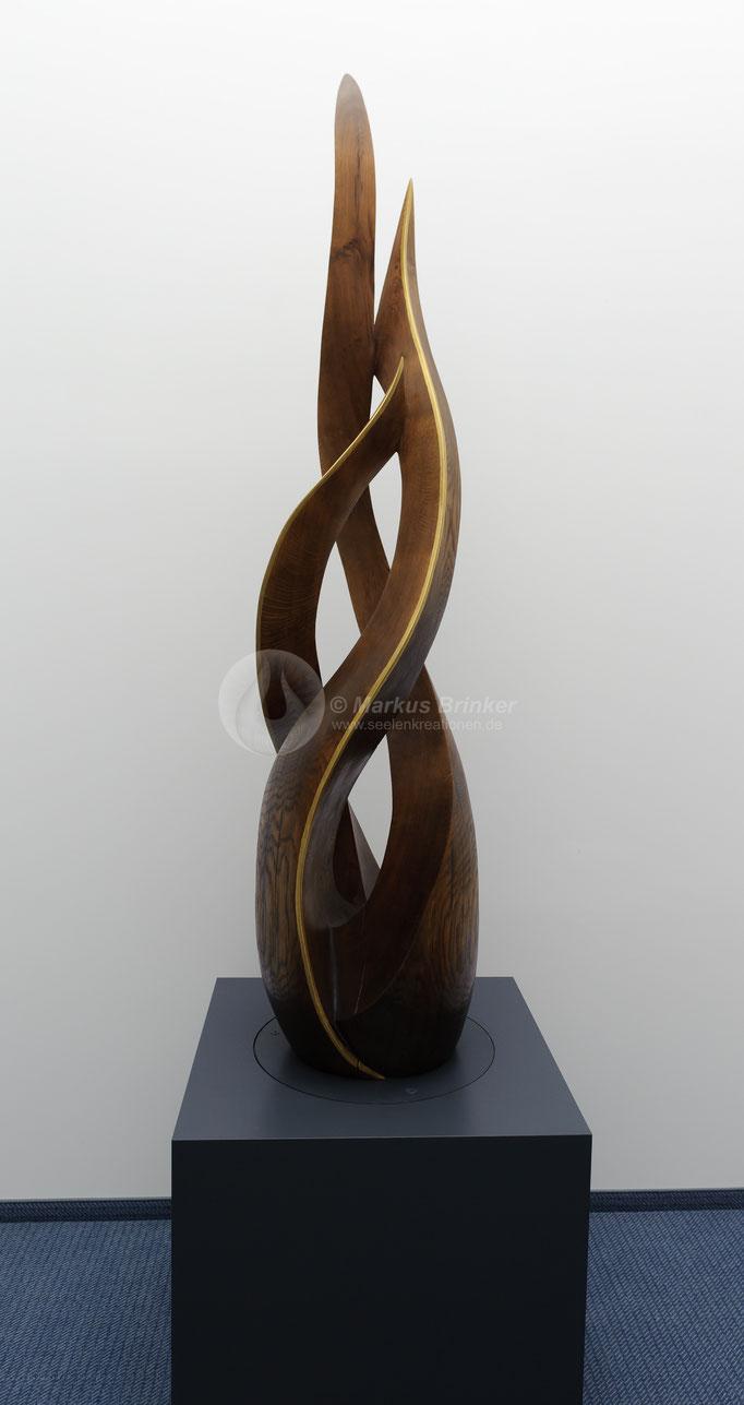 Element Feuer, Eichenholz mit Goldkanten, 275 * 50 cm