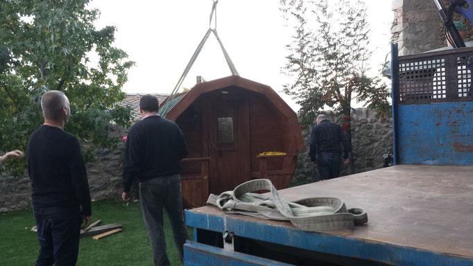 la sauna de la feria se entregó una vez acabada en la Cerdanya francesa