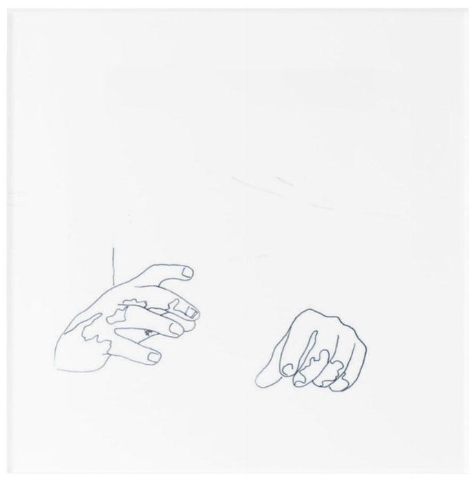 Acryldruck, 30,4 cm x 30,4 cm, Titel: the power of the hands, Feinleinerarbeit, 2015, Damaris Rohner