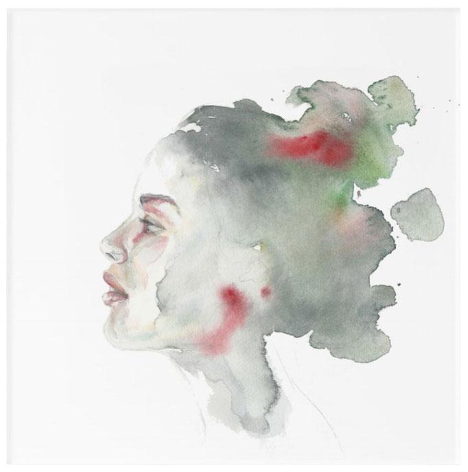 Acryldruck, 30,4 cm x 30,4 cm, Titel: Blick zurück, Aquarellarbeit, 2018, Damaris Rohner