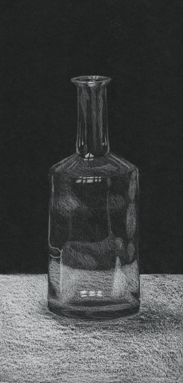 Flasche, Farbstift auf Papier, 2005, Damaris Rohner