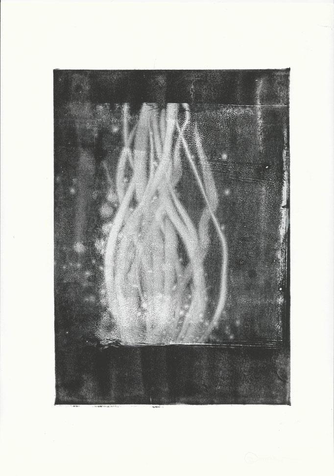 Druckfarbe auf Papier, Hochdrucktechnik, 2015, Damaris Rohner