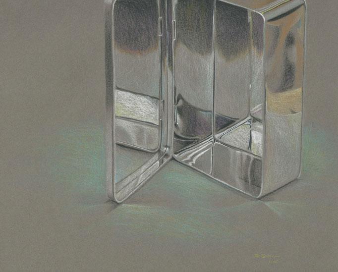 Blechdose, Farbstift auf Papier, 2005, Damaris Rohner