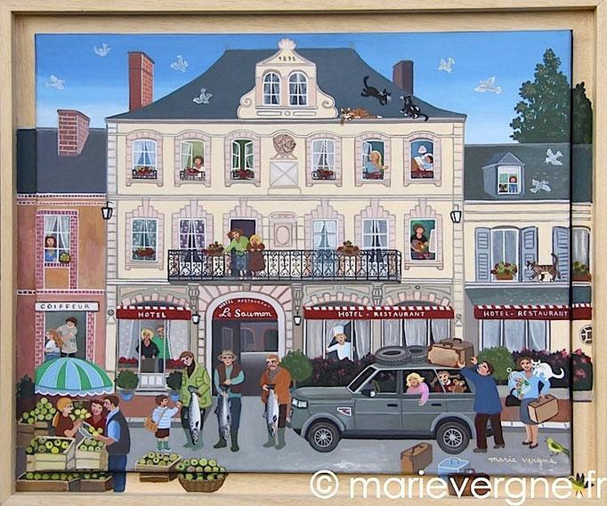 L'Hôtel du Saumon - Acrylique - Format 46 x 38 - Prix sur demande