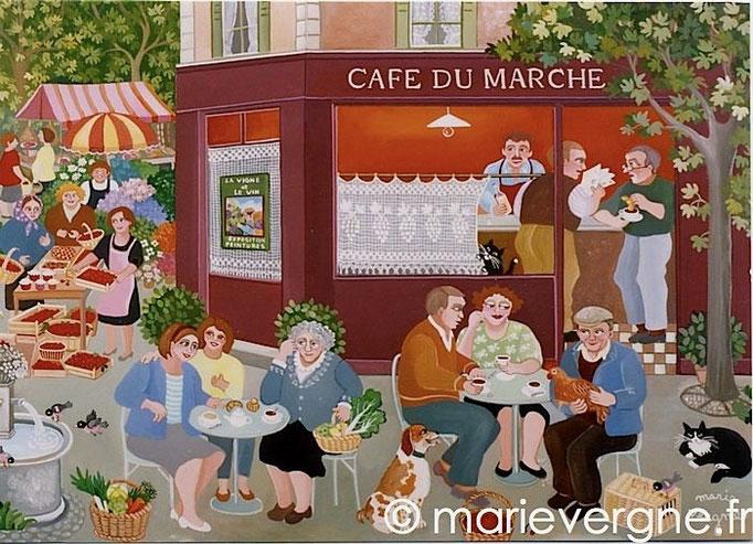 Le Café du marché - Acrylique - Format 73 x 60 - Prix sur demande