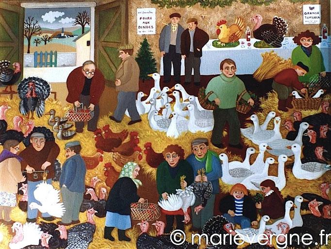 La Foire aux dindes à Jaligny - Acrylique - Format 65 x 46 - Vendu