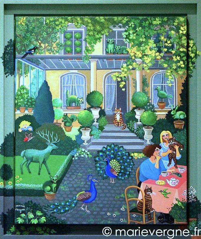 La Songeuse - Acrylique - Format 46 x 38 - Vendu