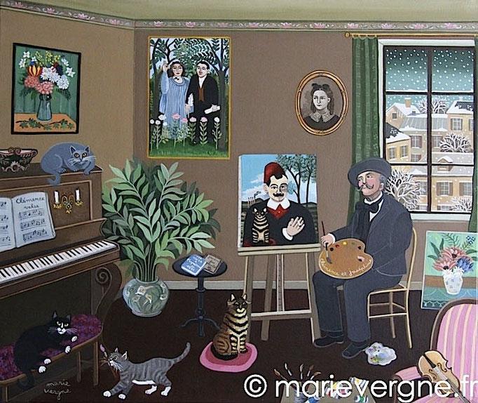 Rousseau et le Chat de Pierre Loti - Acrylique - Format 55 x 46 - Prix sur demande