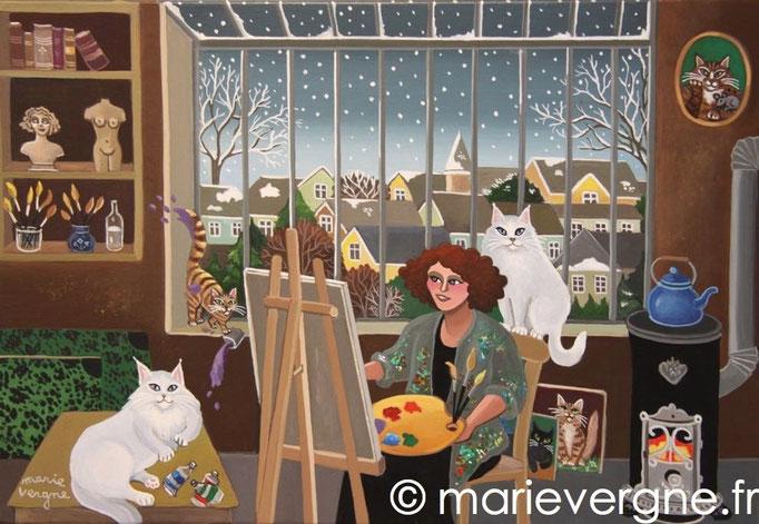 L'atelier aux chats blancs - Acrylique - Format 35 x 24 - Vendu