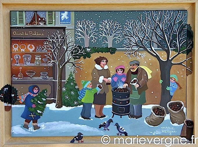Le Marchand de marrons - Acrylique - Format 41 x 27 - Vendu