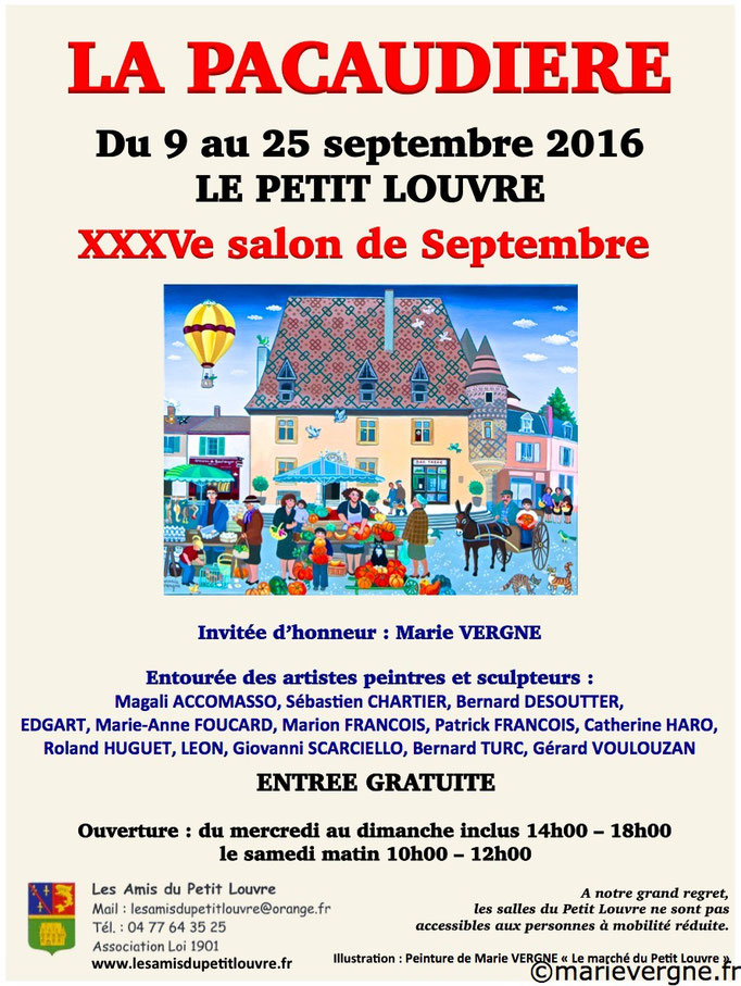 XXXVe Salon de Septembre au Petit Louvre - La Pacaudière - 9 au 25 septembre 2016