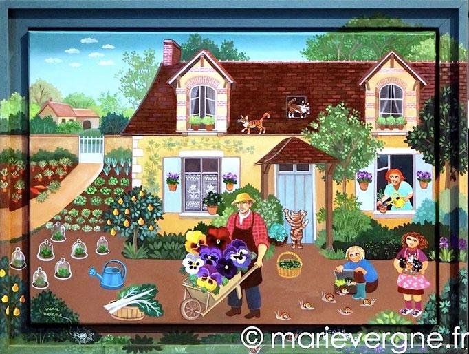 Les Pensées du Jardinier - Acrylique - Format 48 x 33 - Vendu