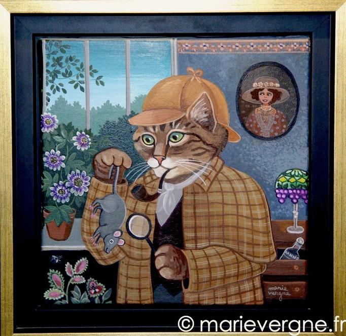 Le Chat Sherlock Holmes - Acrylique - Format 20 x 20 - Prix sur demande