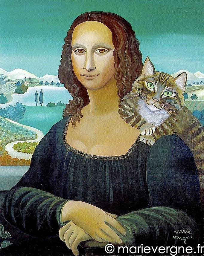 La Joconde au Chat - Acrylique - Format 73 x 60 - Prix sur demande
