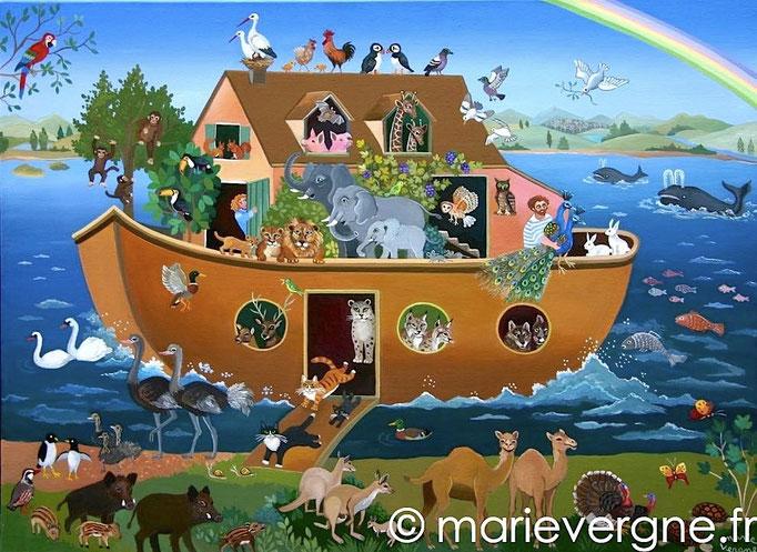 L'Arche de Noé - Acrylique - Format 73 x 54 - Vendu