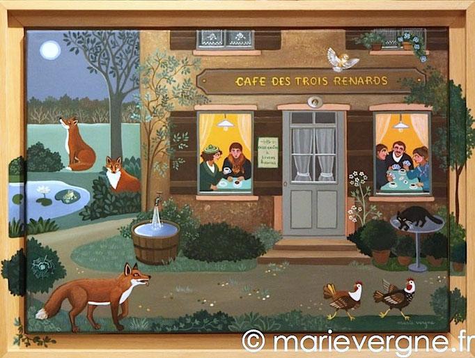 Le Café des Trois Renards - Acrylique - Format 48 x 33 - Prix sur demande