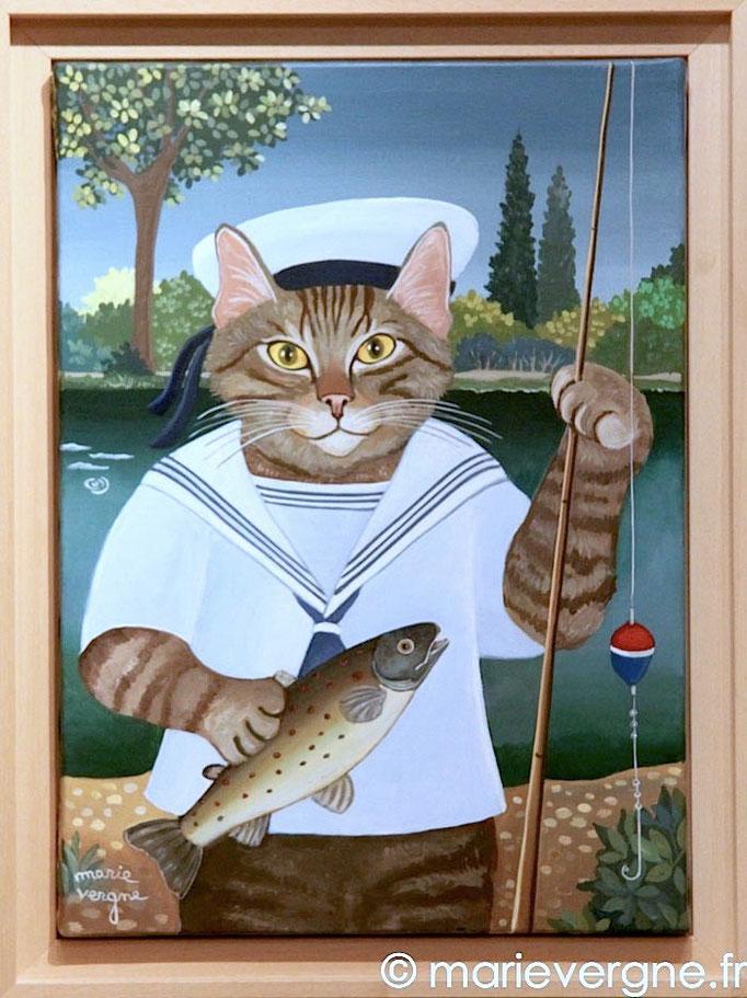 Le Chat Pêcheur - Acrylique - Format 48 x 33 - Prix sur demande