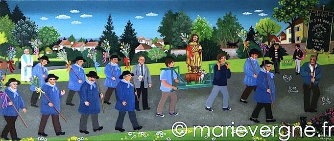 La Saint-Isidore à Vougy - Acrylique - Format 70 x 30 - Prix sur demande