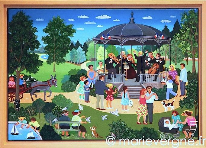 Le Kiosque à musique - Acrylique - Format 55 x 38 - Vendu