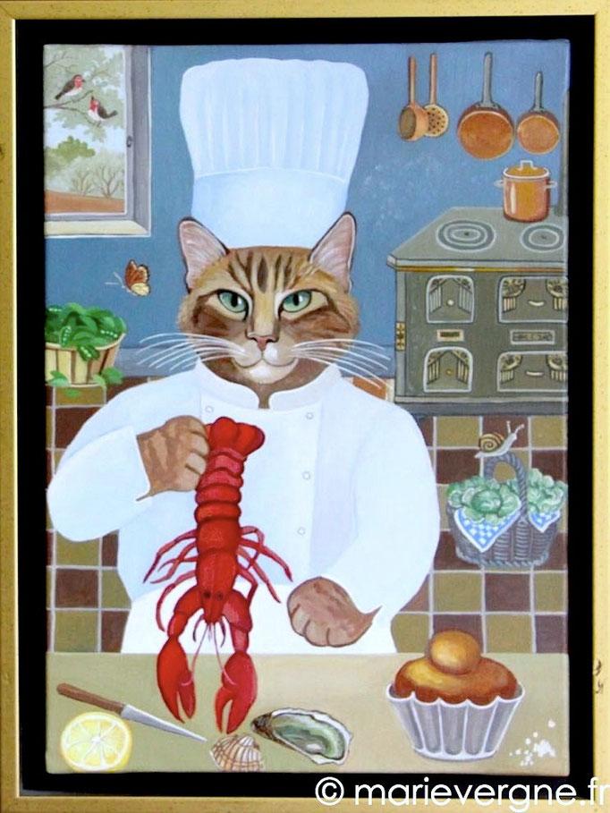 Le Chat au homard - Acrylique - Format 48 x 33 - Prix sur demande