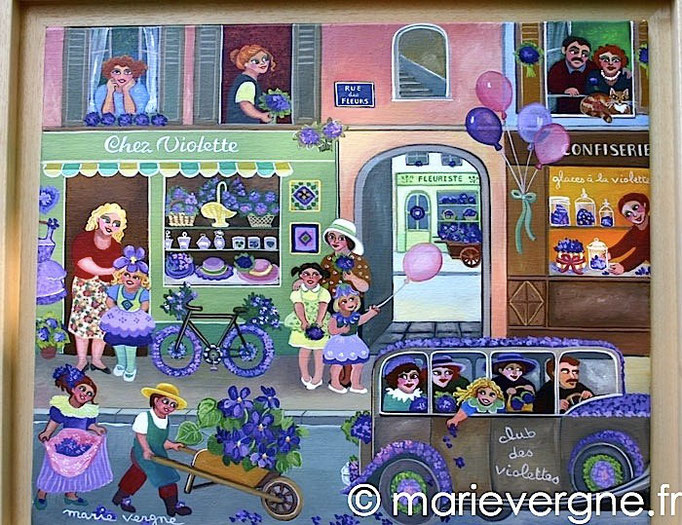 La Fête des violettes - Acrylique - Format 55 x 38 - Vendu