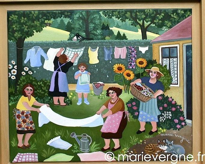 Jour de lessive - Acrylique - Format 46 x 38 - Prix sur demande