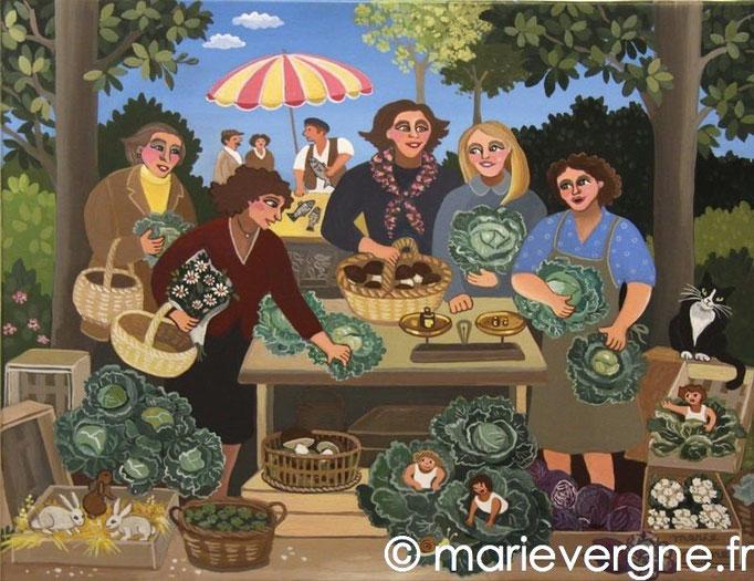 La Marchande de choux - Acrylique - Format 35 x 27 - Vendu