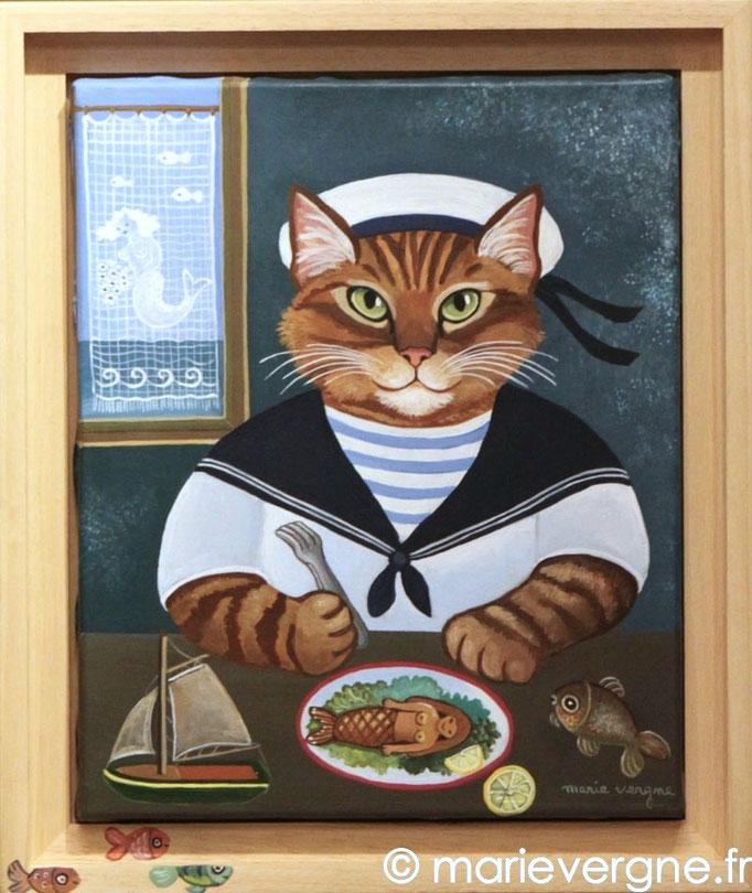 Le Chat et la Sirène - Acrylique - Format 27 x 22 - Vendu