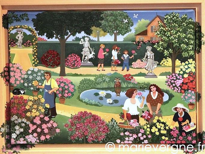 La Roseraie - Acrylique - Format 46 x 38 - Prix sur demande
