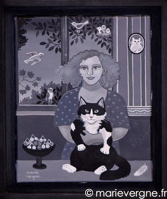 Le Chat noir et blanc - Acrylique - Format 27 x 22 - Prix sur demande