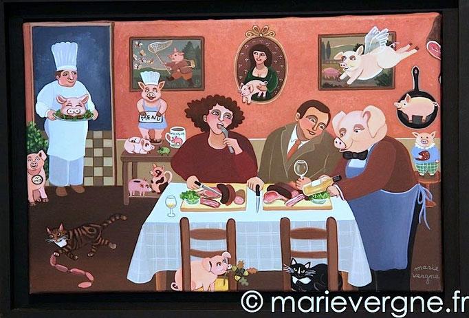 """Restaurant """"Le Goret"""" - Acrylique - Format 41 x 27 - Prix sur demande"""