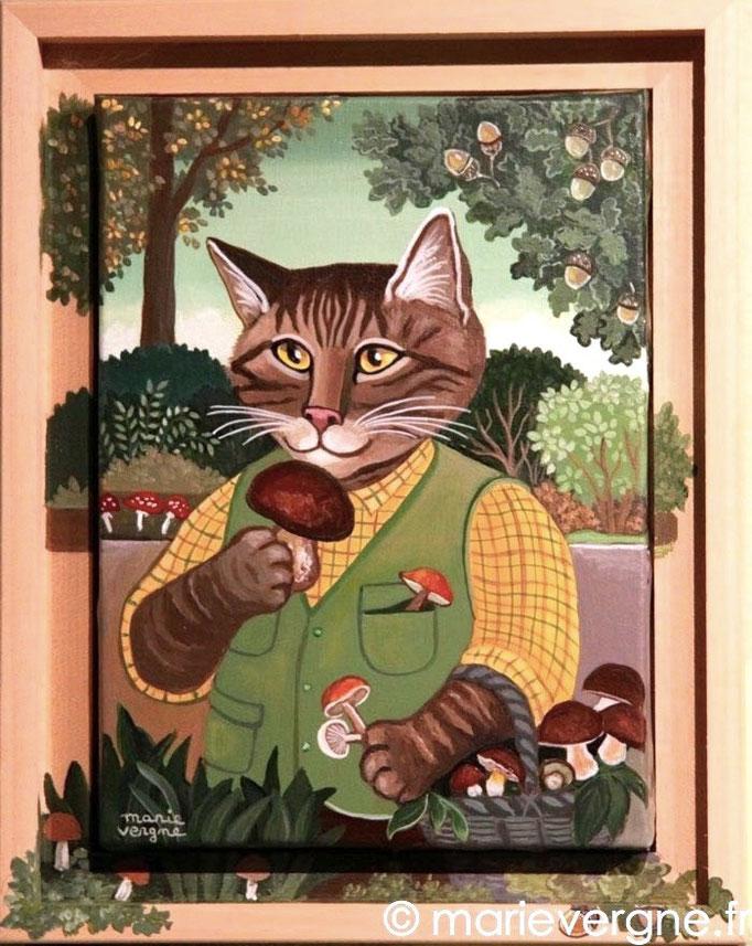 Le Chat aux cèpes - Acrylique - Format 22 x 16 - Vendu