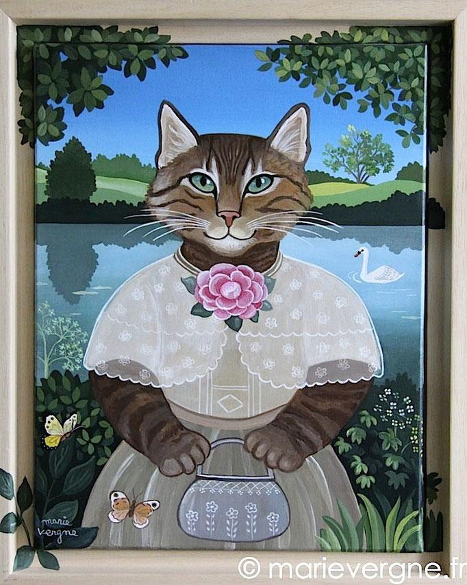 La Chatte au camélia - Acrylique - Format 35 x 27 - Prix sur demande