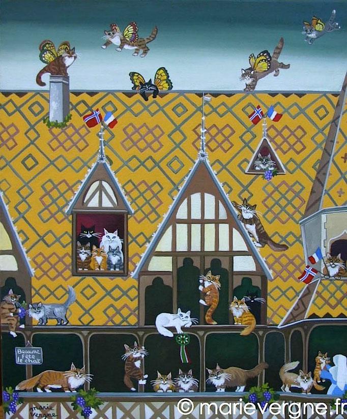 Beaune fête le Chat - Acrylique - Format 46 x 38 - Vendu