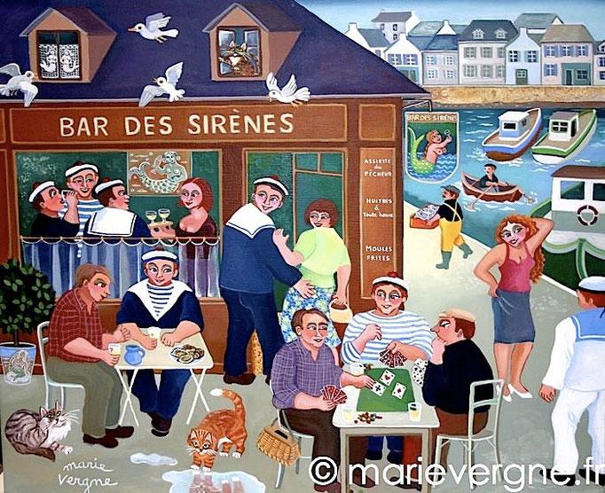 Le Bar des Sirènes - Acrylique - Format 55 x 46 - Vendu