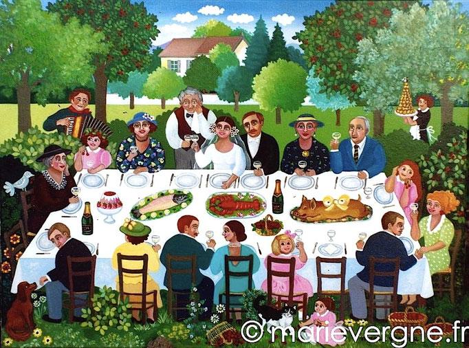 Le repas de noces - Acrylique - Format 73 x 54 - Vendu