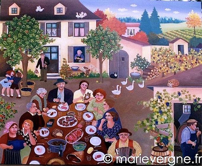 Le repas des vendanges - Acrylique - Format 100 x 81 - Prix sur demande